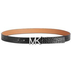 MIchael Kors Croc-Embossed Reversible Belt Black